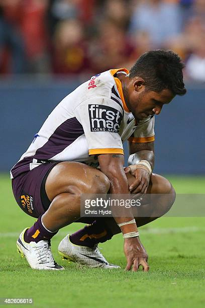 Ben Barba of the Broncos looks dejected after an Eels try during the round five NRL match between the Brisbane Broncos and Parramatta Eels at Suncorp...