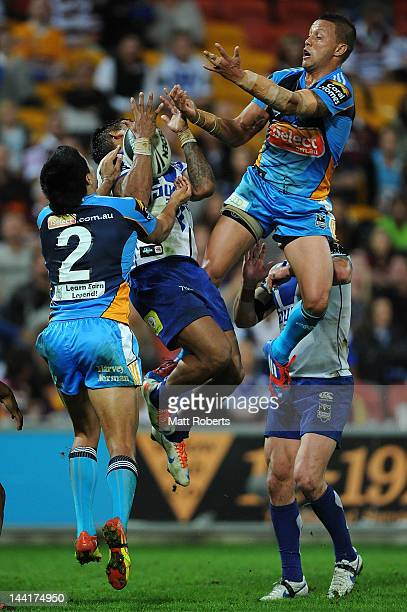 Ben Barba of the Bulldogs catches the ball during the round 10 NRL match between the Canterbury Bulldogs and the Gold Coast Titans at Suncorp Stadium...