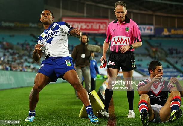 Ben Barba of the Bulldogs celebrates scoring a try during the round 15 NRL match between the Canterbury Bulldogs and the Sydney Roosters at ANZ...