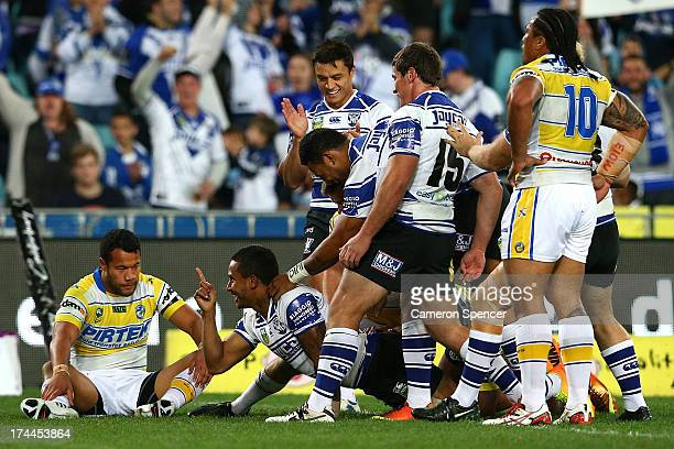 Ben Barba of the Bulldogs celebrates scoring a try during the round 20 NRL match between the Canterbury Bulldogs and the Parramatta Eels at ANZ...