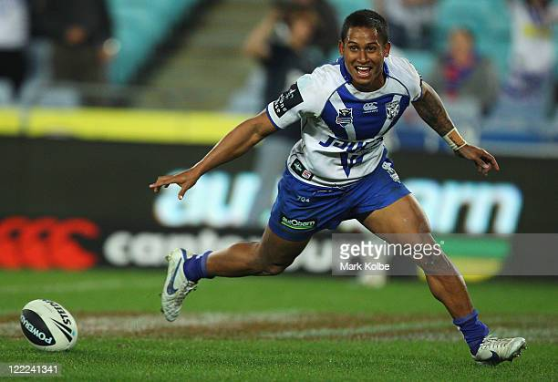 Ben Barba of the Bulldogs scores a try during the round 25 NRL match between the CanterburyBankstown Bulldogs and the Newcastle Knights at ANZ...