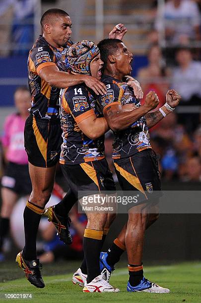 Ben Barba of the Indigenous All Stars celebrates a try during the match between the Indigenous All Stars and the NRL All Stars at Skilled Park on...