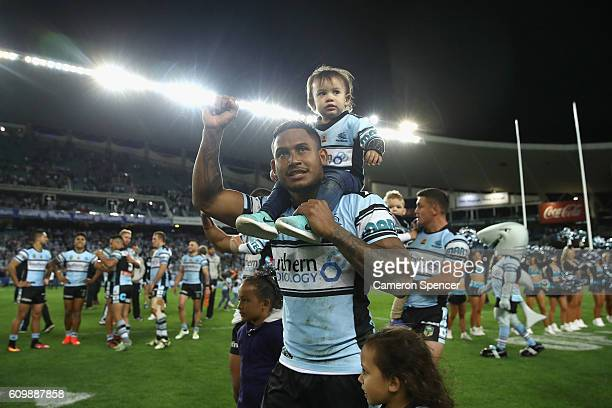 Ben Barba of the Sharks celebrates winnin the NRL Preliminary Final match between the Cronulla Sharks and the North Queensland Cowboys at Allianz...