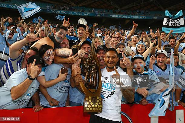 Ben Barba of the Sharks celebrates with the crowd after victory in the 2016 NRL Grand Final match between the Cronulla Sharks and the Melbourne Storm...