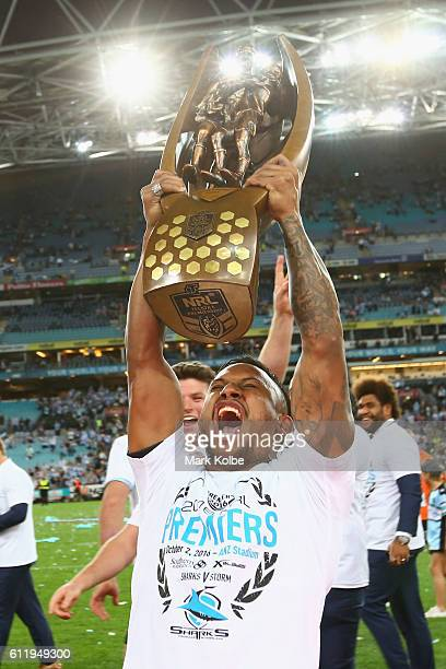Ben Barba of the Sharks celebrates with the trophy after victory in the 2016 NRL Grand Final match between the Cronulla Sharks and the Melbourne...