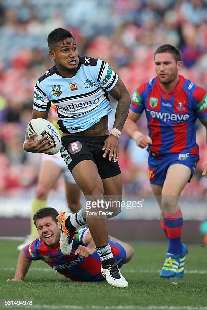 Ben Barba of the Sharks runs the ball during the round 10 NRL match between the Newcastle Knights and the Cronulla Sharks at Hunter Stadium on May 15...