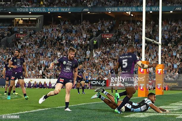Ben Barba of the Sharks scores a try during the 2016 NRL Grand Final match between the Cronulla Sharks and the Melbourne Storm at ANZ Stadium on...