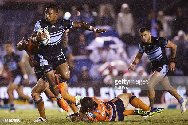 Ben Barba of the Sharks skips out of a tackle during the round six NRL match between the Cronulla Sharks and the Newcastle Knights at Remondis...