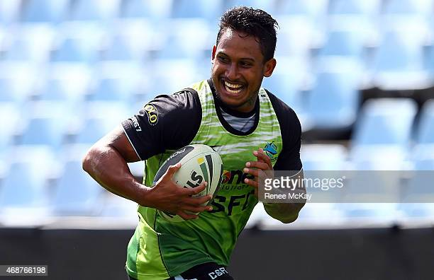Ben Barba smiles during a Cronulla Sharks NRL training session at Remondis Stadium on April 7 2015 in Sydney Australia