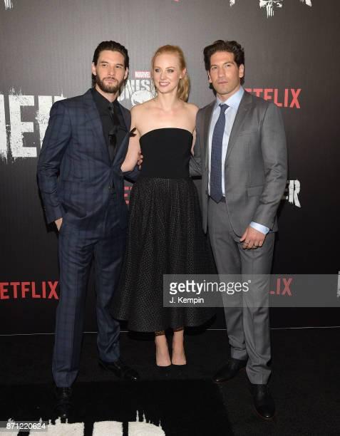 Ben Barnes Deborah Ann Woll and Jon Bernthal attend the 'Marvel's The Punisher' New York Premiere on November 6 2017 in New York City