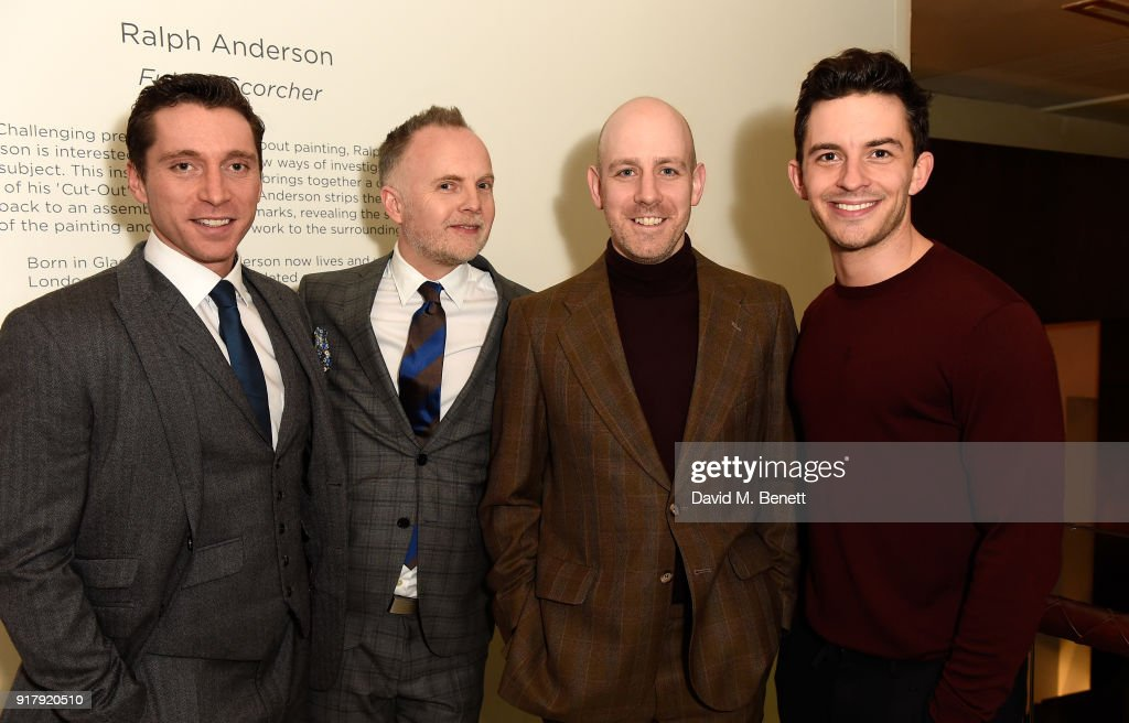 Ben Batt, Peter McKintosh, Robert Hastie and Jonathan Bailey attend the press night after party for 'The York Realist' at The Hospital Club on February 13, 2018 in London, England.
