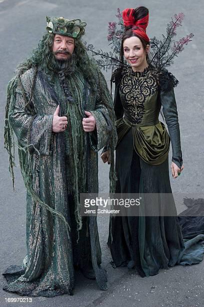 Ben Becker and Meret Becker attends the set visit of 'Die Kleine Meerjungfrau' on June 5 2013 in Saalfeld Germany