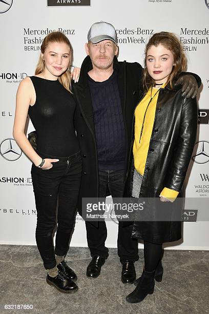Ben Becker his daughter Lilith Maria Doerthe Becker and Camilla Bock attend the Dawid Tomaszewski X Patrizia Aryton show during the MercedesBenz...