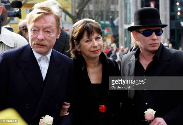 Ben Becker Otto Sander and Monika Hansen arrive for the funeral services of the late German actor Harald Juhnke at the Gedechniskirche church April 8...