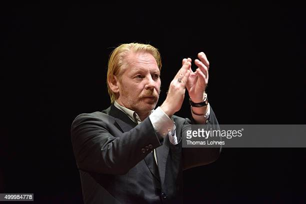 Ben Becker reacts at the end of the anniversary concert Rilke Projekt Live 'Dir zur Feier' at Alte Oper on December 4 2015 in Frankfurt am Main...