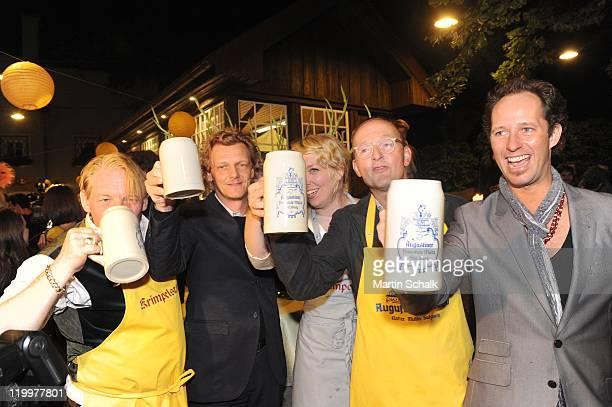 Ben Becker Thomas Oberender Lina Beckmann Peter Jordan und Sascha Oskar Weiss attend the launch party at Krimpelstaetter tavern after the 'Jedermann...