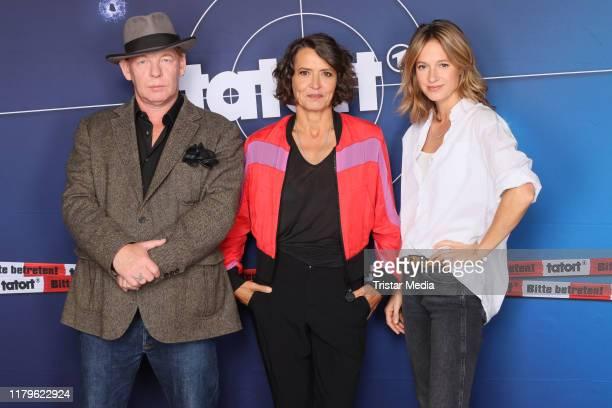 Ben Becker Ulrike Folkerts and Lisa Bitter during the 30 Jahre Lena Odenthal Tatort set visit on October 2 2019 in Hamburg Germany