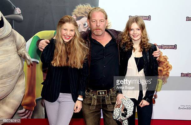 Ben Becker with daughter Lilith Becker and his niece Lulu Becker attend the German premiere for the film 'Hotel Transsilvanien 2' at Zoo Palast on...