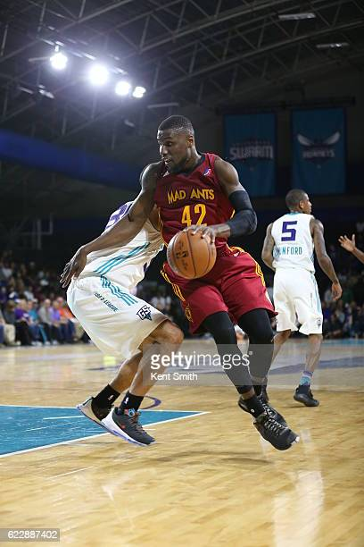 Ben Bentil of the Fort Wayne Mad Ants drives against the Greensboro Swarm during the game at the The Field House at the Greensboro Complex on...