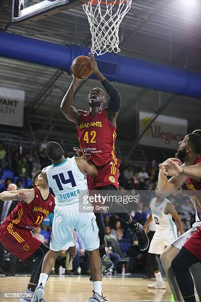 Ben Bentil of the Fort Wayne Mad Ants drives to the basket on Ralston Turner of the Greensboro Swarm during the game at the The Field House at the...