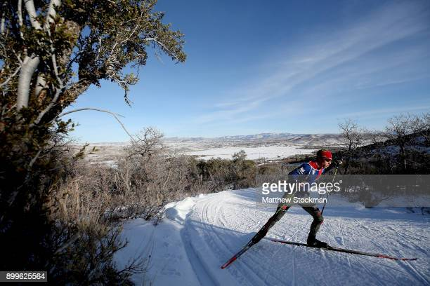 Ben Berend trains on the cross country course in preparation for the US Nordic Combined Olympic Trials on December 29 2017 at Utah Olympic Park in...