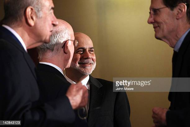 Ben Bernanke Chairman of the Board of Governors of the Federal Reserve System prepares to speak on April 13 2012 in New York City The Fed chairman...