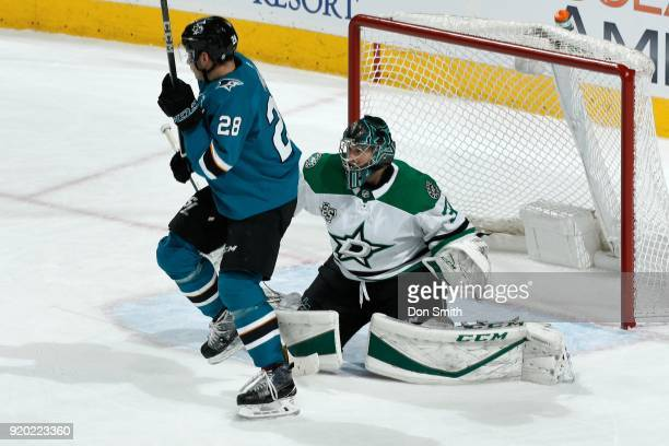 Ben Bishop of the Dallas Stars defends Timo Meier of the San Jose Sharks at SAP Center on February 18 2018 in San Jose California