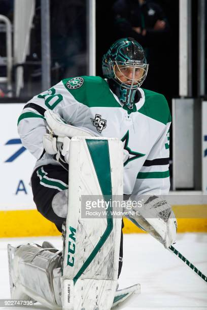 Ben Bishop of the Dallas Stars looks on during the game against the San Jose Sharks at SAP Center on February 18 2018 in San Jose California