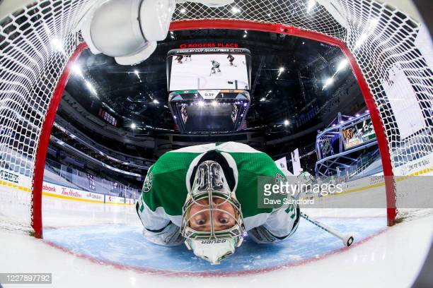 Ben Bishop of the Dallas Stars stretches after a whistle during the third period against the Vegas Golden Knights in a Round Robin game during the...