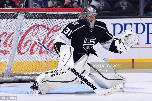 Ben Bishop of the Los Angeles Kings defends the net before a game against the Nashville Predators at STAPLES Center on March 09 2017 in Los Angeles...
