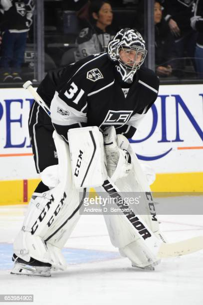 Ben Bishop of the Los Angeles Kings looks on before a game against the Arizona Coyotes at STAPLES Center on March 14 2017 in Los Angeles California
