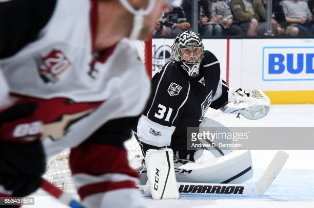 Ben Bishop of the Los Angeles Kings looks on during a game against the Arizona Coyotes at STAPLES Center on March 14 2017 in Los Angeles California