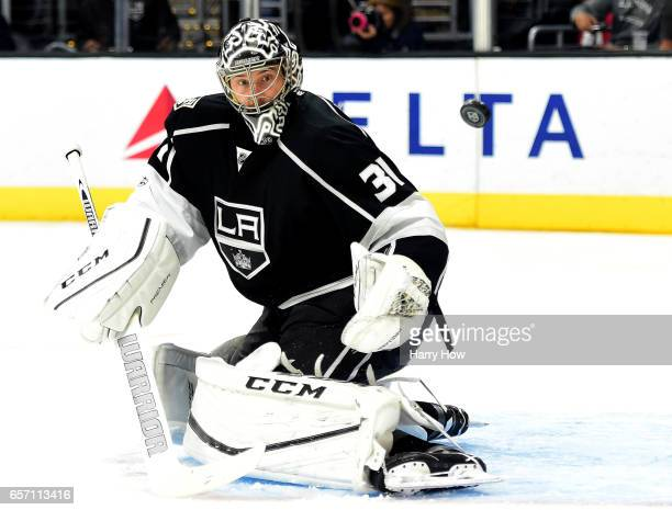 Ben Bishop of the Los Angeles Kings makes a save on a shot from the Winnipeg Jets during the third period of a 52 Kings win at Staples Center on...