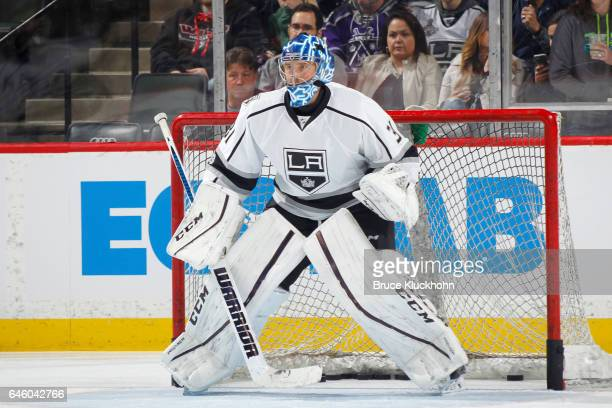 Ben Bishop of the Los Angeles Kings warms up prior to the game against the Minnesota Wild on February 27 2017 at the Xcel Energy Center in St Paul...