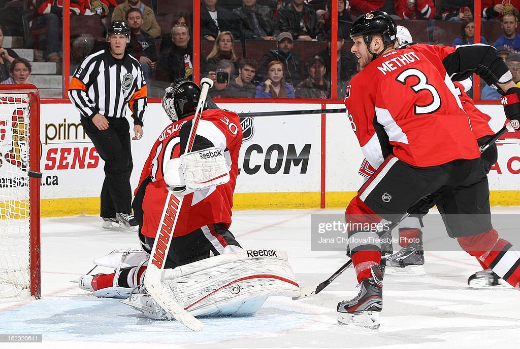 Ben Bishop #30 of the Ottawa Senators looks over his shoulder as the puck goes in the net in the third period, during an NHL game against the Ottawa Senators, at Scotiabank Place on February 21, 2013 in Ottawa, Ontario, Canada.