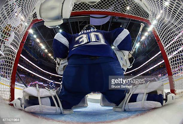 Ben Bishop of the Tampa Bay Lightning blocks the net against the Chicago Blackhawks during Game Five of the 2015 NHL Stanley Cup Final at Amalie...