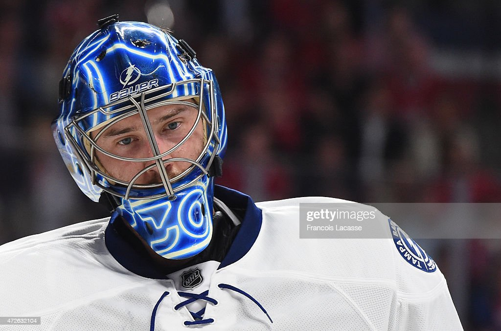 Ben Bishop #30 of the Tampa Bay Lightning during the game against the Montreal Canadiens in Game Five of the Eastern Conference Semifinals during the 2015 NHL Stanley Cup Playoffs at the Bell Centre on May 1, 2015 in Montreal, Quebec, Canada.