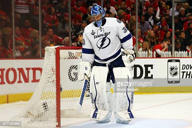 Ben Bishop of the Tampa Bay Lightning looks on in the third period against the Chicago Blackhawks during Game Six of the 2015 NHL Stanley Cup Final...