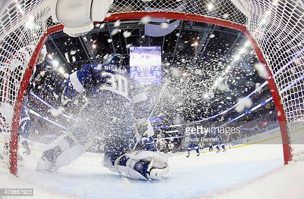 Ben Bishop of the Tampa Bay Lightning skates against the Chicago Blackhawks during Game One of the 2015 NHL Stanley Cup Final at Amalie Arena on June...