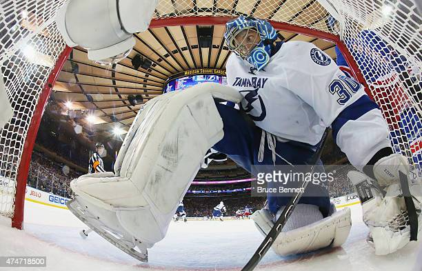 Ben Bishop of the Tampa Bay Lightning tends goal against the New York Rangers during the third period in Game Five of the Eastern Conference Finals...