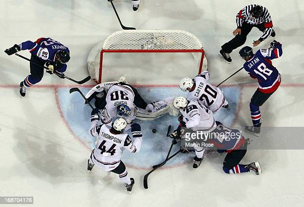 Ben Bishop of USA makes a save during the IIHF World Championship group H match between Slovakia and USA at Hartwall Areena on May 14, 2013 in...