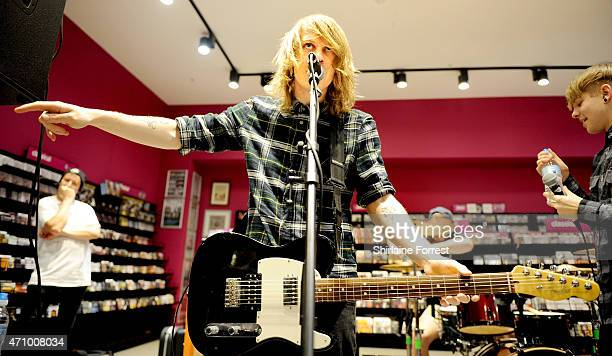 Ben Biss of As It Is perform live and sign copies of their debut album 'Never Happy Ever After' at HMV on April 24 2015 in Manchester England