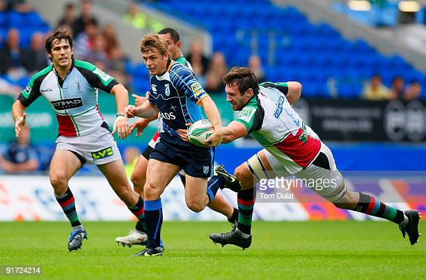 Ben Blair of Cardiff Blues charges through Harlequins' defence during the Heineken Cup match between Cardiff Blues and Harlequins at the Cardiff City...