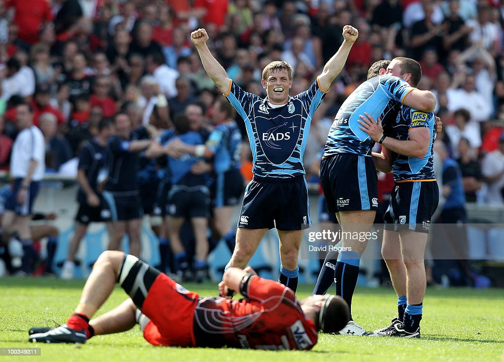 Ben Blair, the Cardiff fullback, celebrates their victory at the final whistle during the Amlin Challenge Cup Final between Toulon and Cardiff Blues at Stade Velodrome on May 23, 2010 in Marseille, France.
