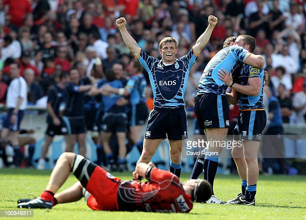 Ben Blair the Cardiff fullback celebrates their victory at the final whistle during the Amlin Challenge Cup Final between Toulon and Cardiff Blues at...