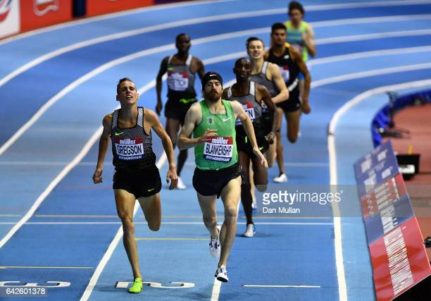 Ben Blankenship crosses the line ahead of Ryan Gregson of Australia to win the Men's 1500 metres final during the Muller Indoor Grand Prix 2017 at...