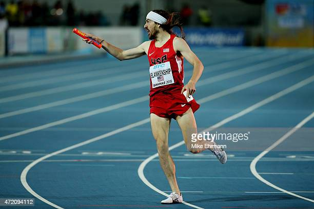 Ben Blankenship of the United States celebrates after winning the final of the men's distance medley relay on day two of the IAAF/BTC World Relays...