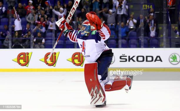 Ben Bowns goaltender of Great Britain tcelebrate victory over France after the 2019 IIHF Ice Hockey World Championship Slovakia group A game between...