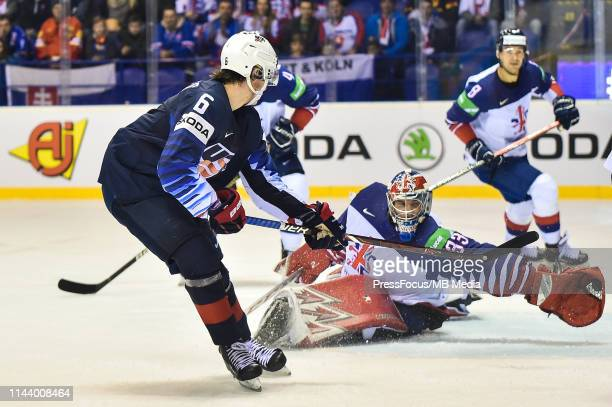Ben Bowns of Great Britain stops shot from Jack Hughes of USA during the 2019 IIHF Ice Hockey World Championship Slovakia group A game between United...