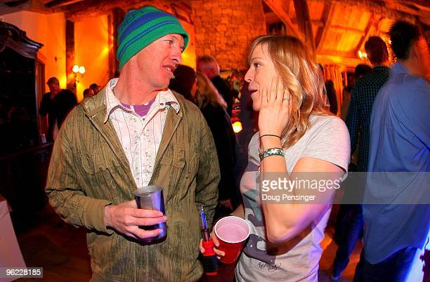 Ben Boyd ISTC Coach and Snowboader Jenny Jones of Great Britain caht at the Oakley/Red Bull Party prior to Winter X Games 14 at Buttermilk Mountain...